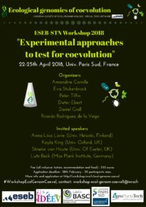 """Flyer of the ESEB STN Workshop 2018 """"Experimental approaches to test for coevolution"""""""